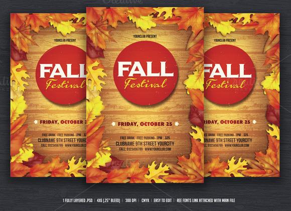 fall festival flyer flyer templates on creative market. Black Bedroom Furniture Sets. Home Design Ideas