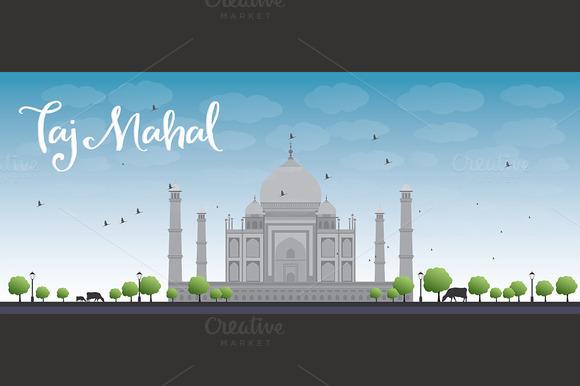 Taj Mahal With Trees And Cows