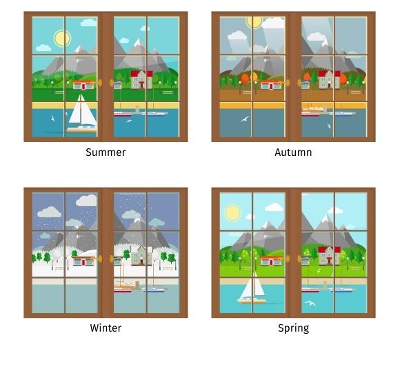 Window In Different Seasons
