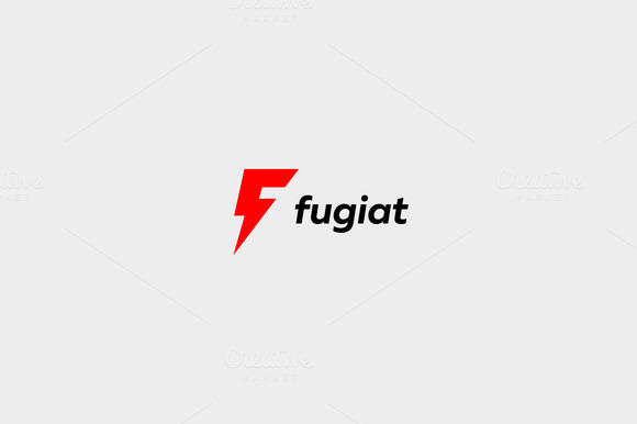 Letter F logo. Dynamic flash sign