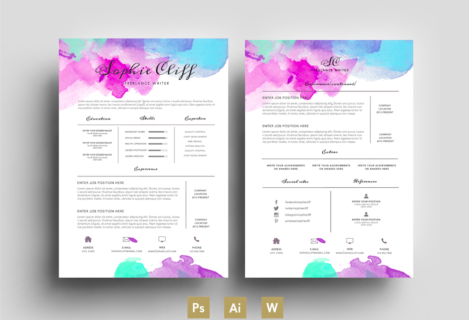 water color resume template psd resume templates on