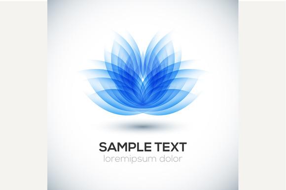 3D flower shape. Lotus. Vector logo - Graphics