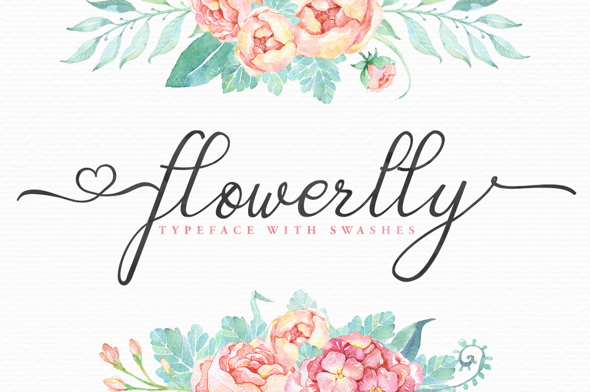 Flowerlly typeface with swashes script fonts on creative