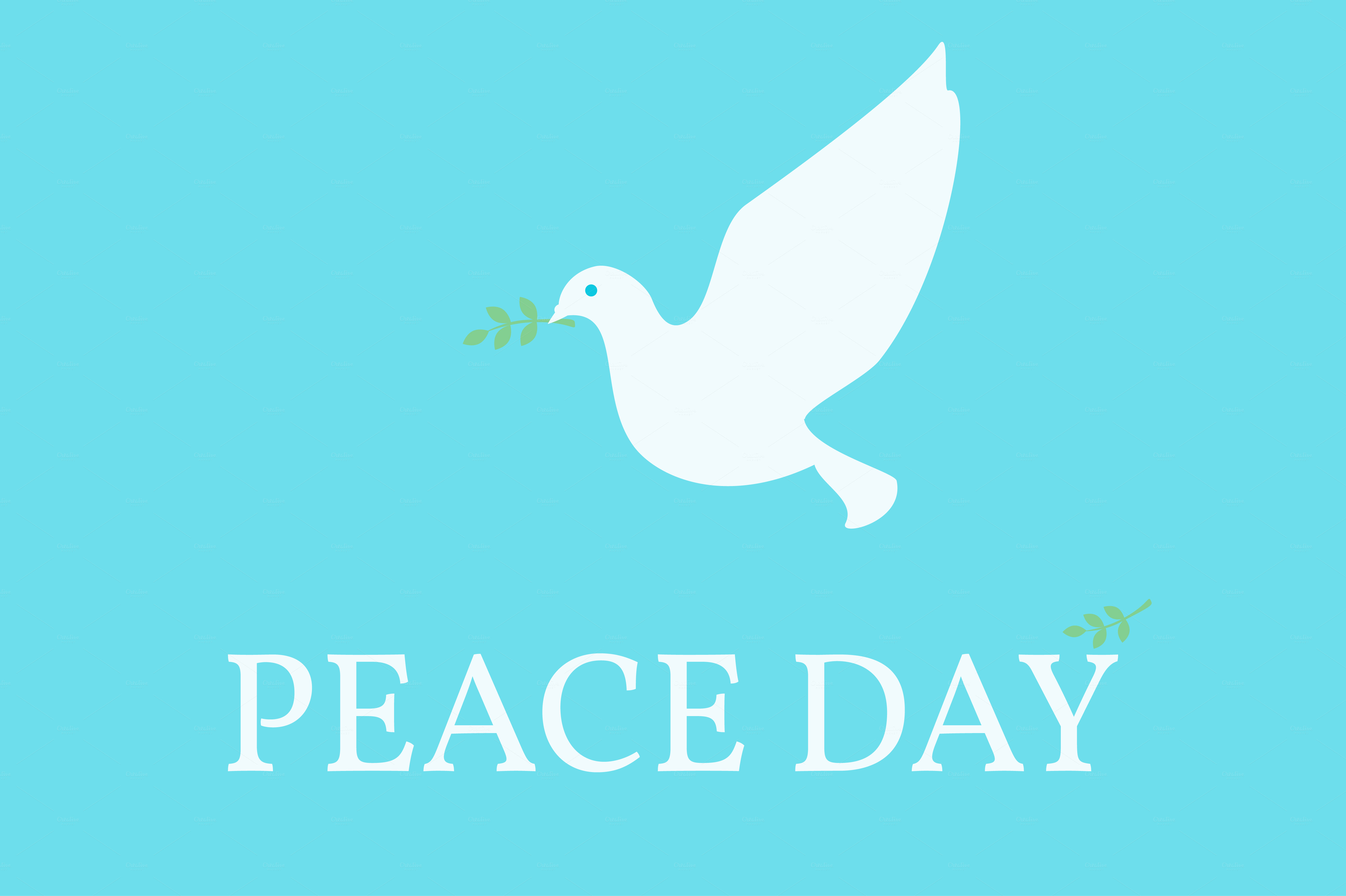 Peace Day Poster. Dove and olive ~ Illustrations on ...