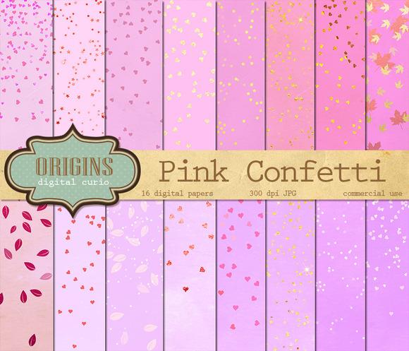 Pink Confetti Digital Paper