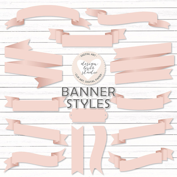 Vector Blush Banners Ribbons