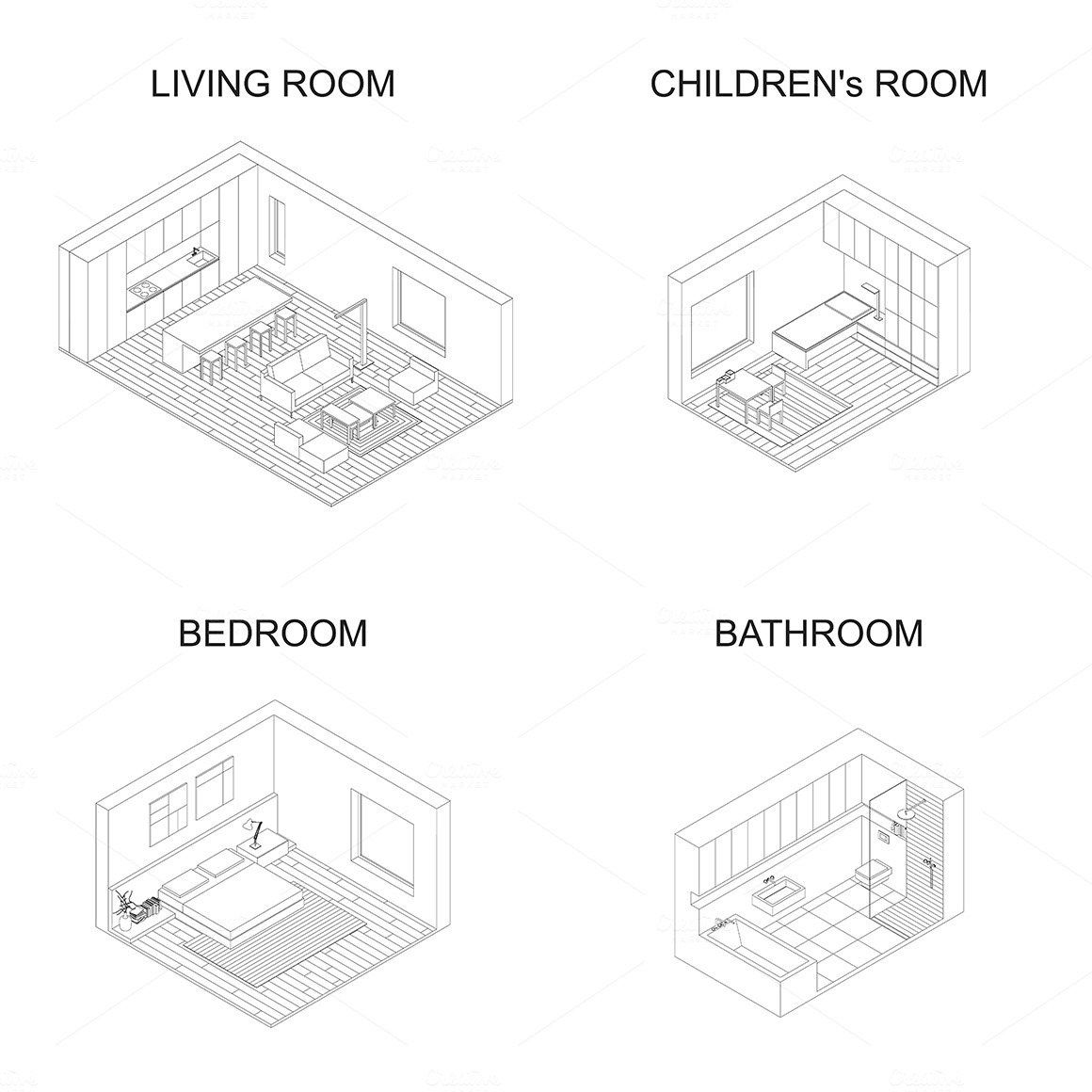 Interior isometric rooms ~ Graphics on Creative Market