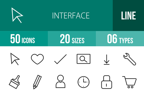 50 Interface Line Icons