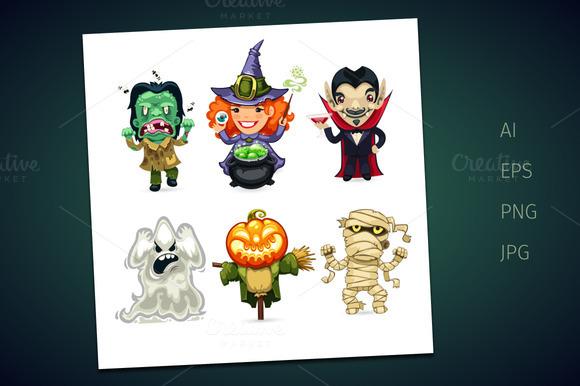 Set Of Cartoon Halloween Characters