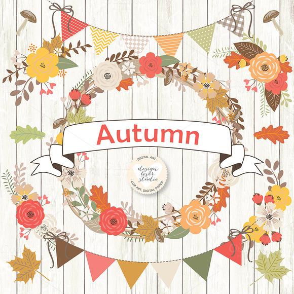 Vector Rustic Autumn cliparts Illustrations on Creative