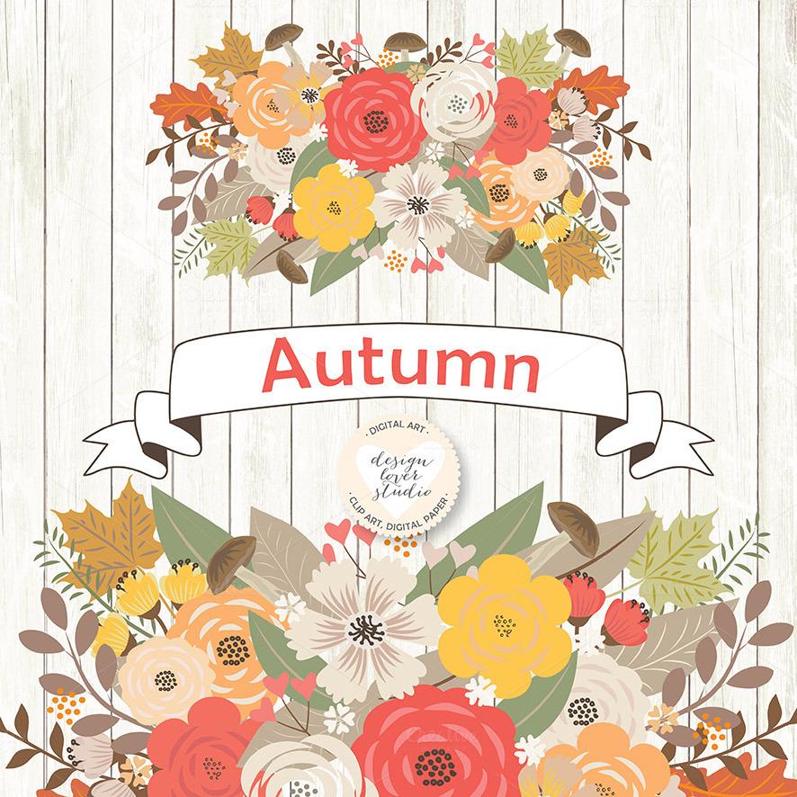 Vector Rustic Autumn cliparts ~ Illustrations on Creative ...