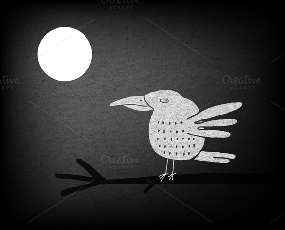 Black And White Bird And Full Moon