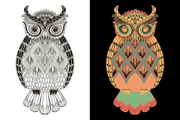 Ornamental Owl Doodle Pattern
