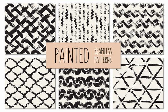 Painted Seamless Patterns Set 2