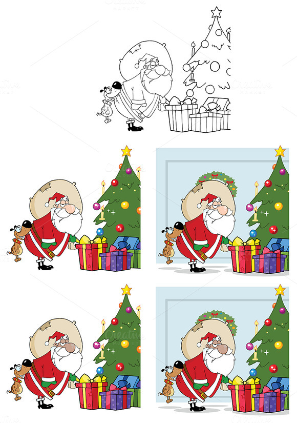 Happy Santa Claus. Collection Set - Illustrations