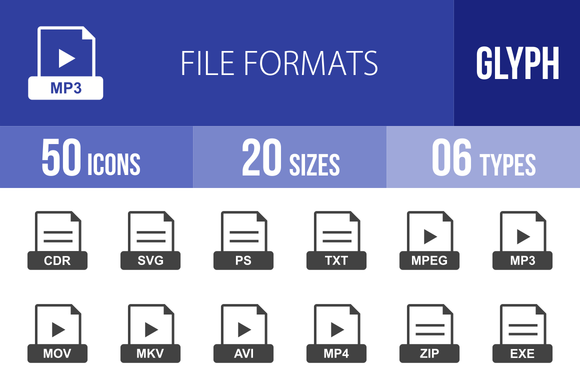 50 File Formats Glyph Icons
