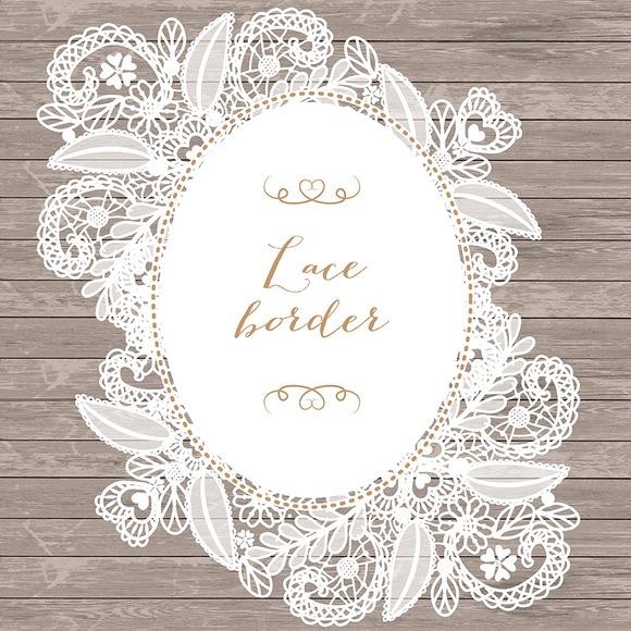 Vector floral lace frame ~ Illustrations on Creative Market