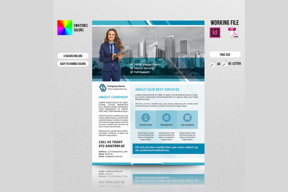 InDesign Corporate Flyer 3 Color