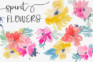 Spirit Flowers - Watercolor Clip Art