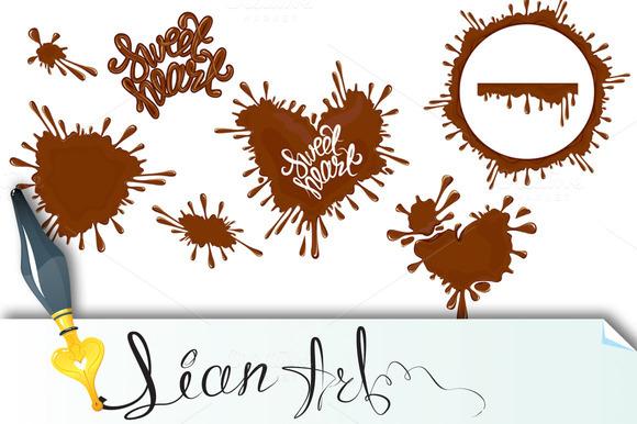 Set Of Chocolate Splashes Hearts