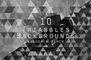 Triangles Patterns - Silver & Black
