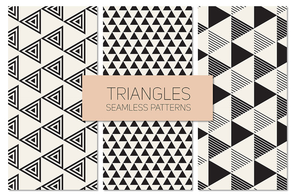 Triangles Seamless Patterns Set 9