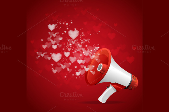 Heart and megaphone card. Vector - Illustrations