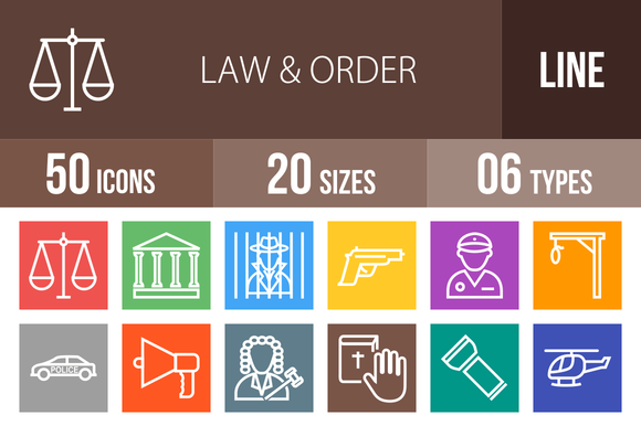 50 Law Order Line Multicolor Icons
