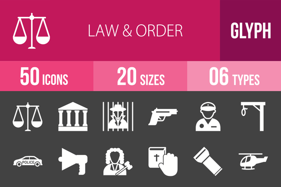 50 Law Order Glyph Inverted Icons