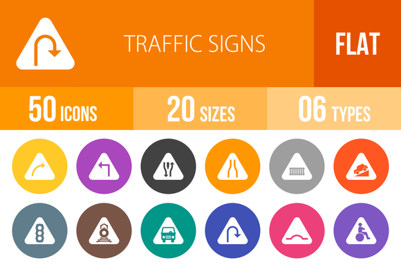 50 Traffic Signs Flat Round Icons