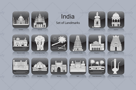 India Landmark Icons