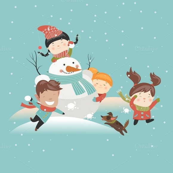 Funny Kids Playing Snowball Fight