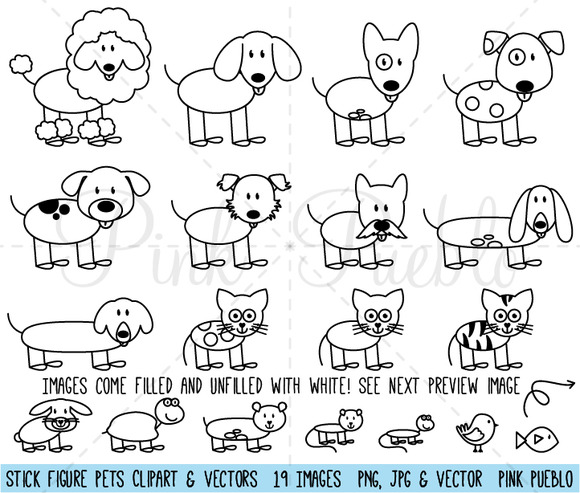 stick figure pets clipart and vector graphics on