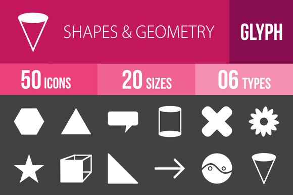 50 Shapes Geometry Glyph Inverted