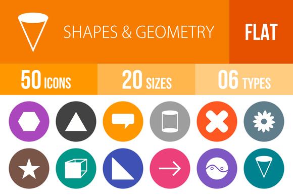 50 Shapes Geometry Flat Round Icons