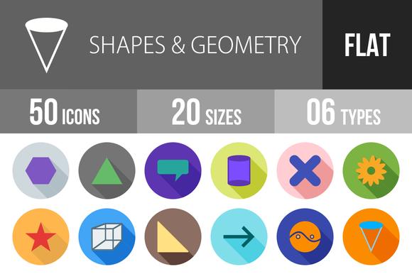 50 Shapes Geometry Flat Shadowed