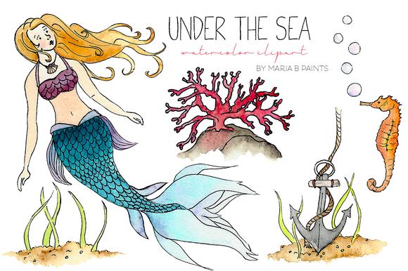 Watercolor Clip Art Under The Sea