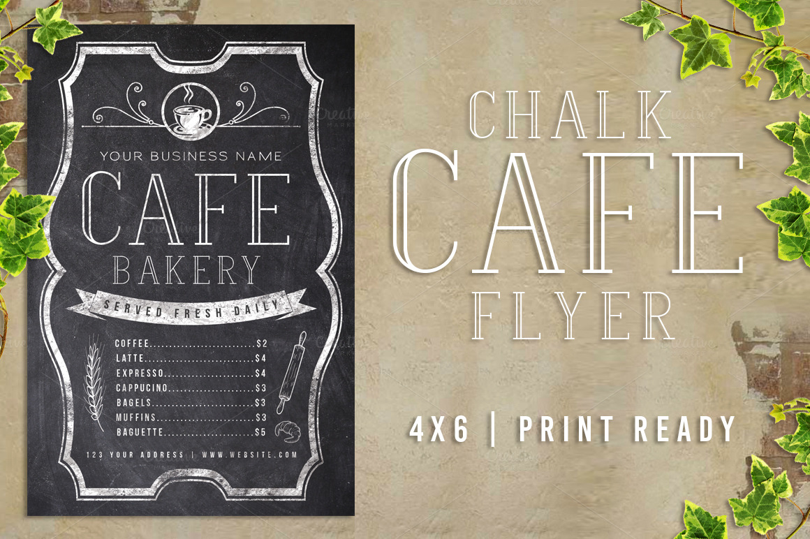 chalk cafe flyer menu flyer templates on creative market. Black Bedroom Furniture Sets. Home Design Ideas