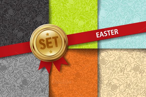 Set Of Doodle Easter Backgrounds