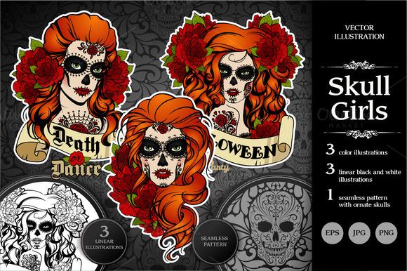 Skull girls. Vector set. Day of dead - Illustrations