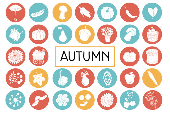 Autumn Flat Icon Pack Vegetables