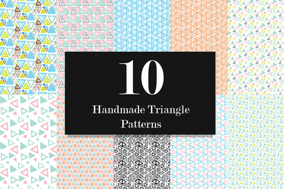 10 Triangle Seamless Vector Pattern