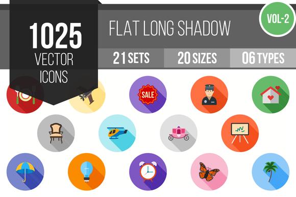 1025 Flat Shadowed Icons