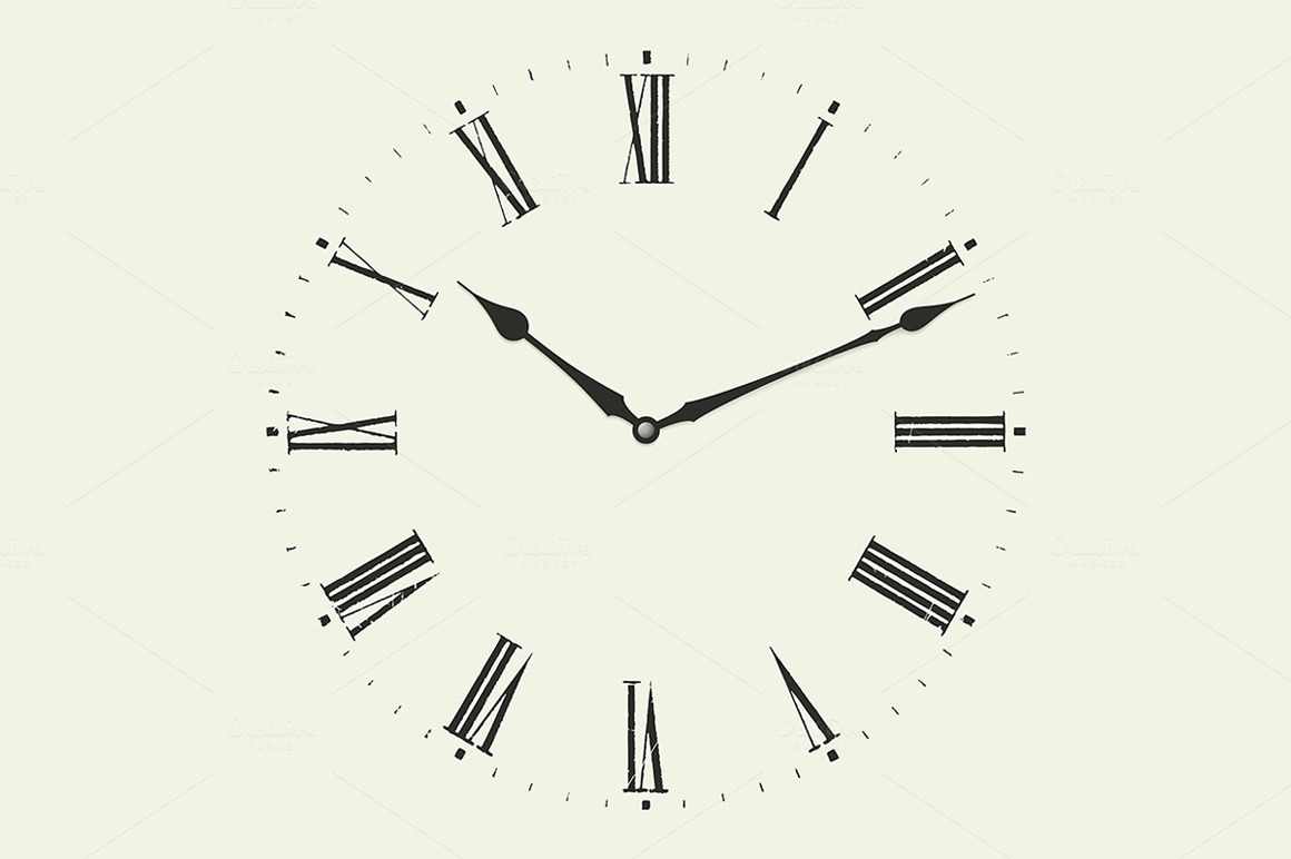 Clock with Roman numerals. ~ Illustrations on Creative Market