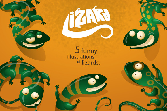 5funny Lizards Vector