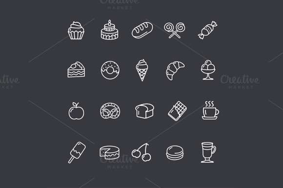 Bakery And Pastry Outline Icons Set