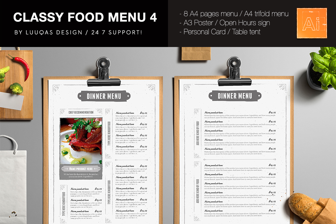 classy brochure design - classy food menu 4 brochure templates on creative market
