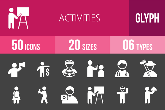 50 Activities Glyph Inverted Icons