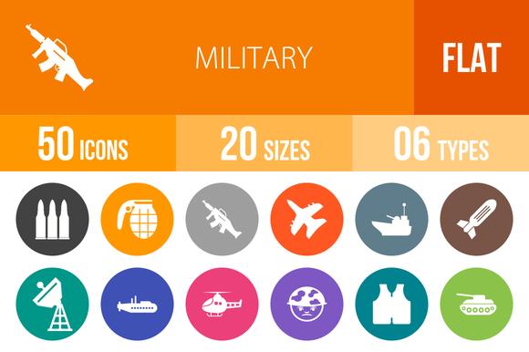 50 Military Flat Round Icons