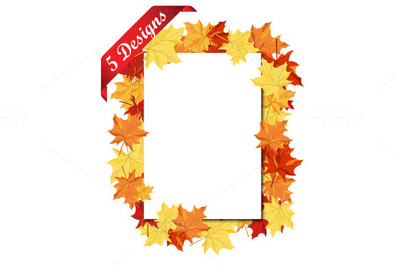 5 Autumn Frame With Blank Sheet